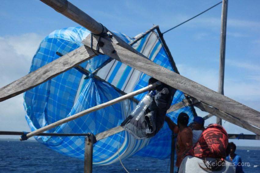 Tanimbar boat - broken sail