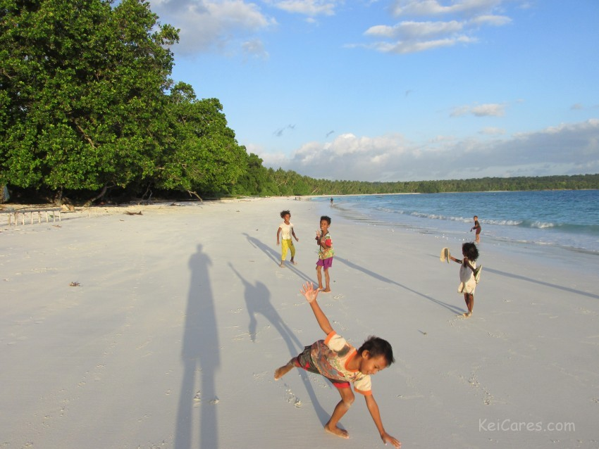 Children playing at Wab beach